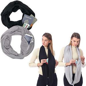 Men Womens Convertible Infinity Circle Loop Scarf with Hidden Zip Pocket Scarves