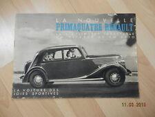 catalogue RENAULT PRIMAQUATRE 1939 prima 4