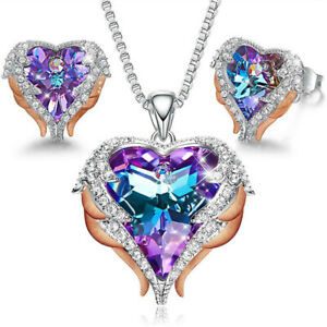 Angel Wing Heart sapphire pendant Necklace Earring jewelry Set Mothers Day Gift