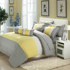 Serenity Yellow & Grey 10 Piece Comforter Bed In A Bag Set
