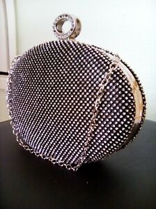 Sparkly Swarovski Crystal Diamante Hardcase Clutch Bag purse Black Silver NWOT