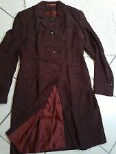 PAUW womens distressed wine red silk trench coat jacket vampire etro dracula S