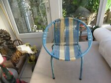 Stunning childs 1960's blue/white plastic/metal woven string chair Authentic