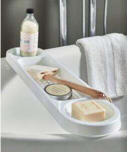 PLASTIC OVER BATH TUB RACK CADDY TIDY STORAGE WHITE BATHROOM ORGANISER UNIT NEW