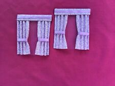 "2 lavender and white dolls house curtains 3.5"" x 4"""