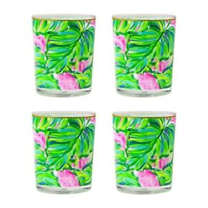Lilly Pulitzer Acrylic Lo-Ball Glasses Set 4 Painted Palms Leaves Green Pink NEW