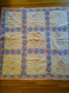 """Vintage Patchwork Nursery Rhyme Quilt 42 X 42"""" With Embroidery"""