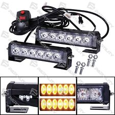 Pair LED Amber Light Emergency Warning Strobe Flashing Yellow Bar Hazard Grill