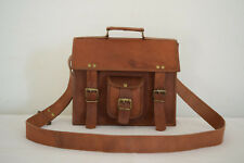 "9x11"" Real Leather Briefcase Satchel Handbag Messenger Crossbody Bag Ecofriendly"