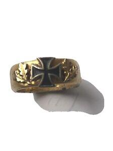 Patriotischer Ring Eisernes Kreuz Grantführungsring gold farben WK1 selten