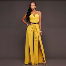 Sexy Women Party Dress Jumpsuit  Clubwear Strapless V-neck Romper Trousers Prom