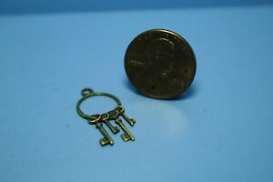 Dollhouse Miniature Metal Old Fashion Keys on Key Ring CAR1080