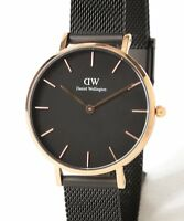 Daniel Wellington Classic Rose Gold Petite Ashfield Black Mesh 28mm Ladies Watch