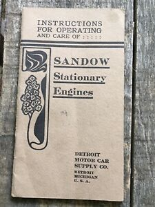 Vtg SANDOW Stationary ENGINES instructions book Detroit Motor Car Supply Co MI