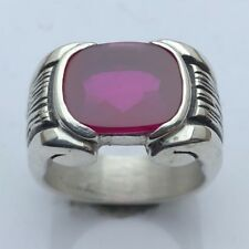 MJG STERLING SILVER MEN'S RING.12 X 14mm ANTIQUE CUSHION LAB RUBY. BUFF TOP.
