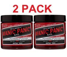 2 PACK MANIC PANIC Semi-Permanent Color Cream, Infra Red 4oz