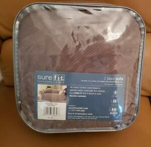 "Sure Fit Furniture Cover Stretch Pique Taupe 2 Piece Sofa 74 - 96"""