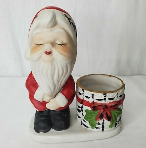 Vintage Santa Claus Christmas Luvkins Candle Toothpick Holder Porcelain 1978