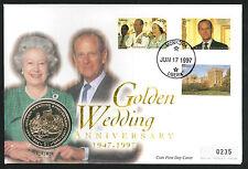 1997 Golden Wedding Coin FDC - $1 Coin & Monrovia Pmk