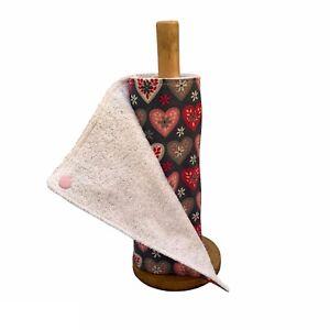 Reusable kitchen roll, unpaper towels, heart print eco friendly kitchen cloths