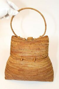 Handcrafted Womens Natural Woven Wicker Satchel Basket Bag Hand Made