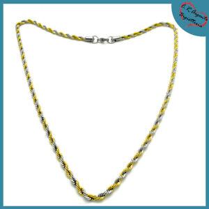 collana da uomo in acciaio con a catena intrecciata oro e argento girocollo per