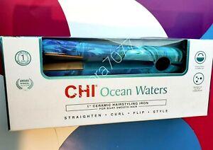 CHI* Ocean Waters 1'Ceramic Hairstyling Iron Straighten-Curl-Flip-Style 392F NIB