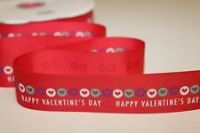Happy Valentines Day 38mm grosgrain ribbon perfect for all decorating purposes