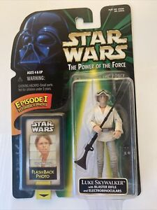 Star Wars Power of The Force Green Card Flashback Photo Luke Skywalker Figure