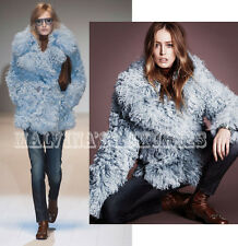 $6,500 FAMOUS GUCCI SHEARLING COAT DOUBLE BREASTED BLUE PEACOAT IT 42 US 6