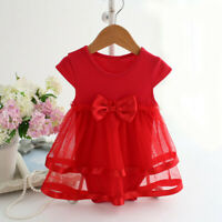 Newborn Infant Baby Girl Tutu Bow Clothes Birthday Party Jumpsuit Princess Dress