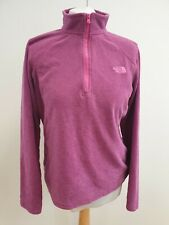 J811 WOMENS THE NORTH FACE PURPLE 1/4 ZIP PULLOVER HIKING BASE LAYER FLEECE UK L