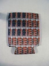 2 NEW BUDWEISER RED BLUE FLAG DESIGN CAN BOTTLE KOOZIE HUNTING FISHING CAMPING