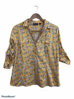 7th Avenue NY&Co. Women's Yellow Zebra Print Long Sleeve Tunic Top Size XL