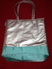 Von Maur Blue & Silver Large Padded Lined Shopper TOTE BAG Minty 14 x 12 x 4