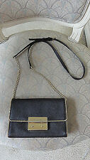 MICHAEL KORS JET SET WALLET ON CHAIN CROSSBODY BAG BROWN GOLD TONE