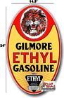 "(GILM-4) 24"" GILMORE ETHYL GASOLINE OIL VINYL DECAL FOR GAS PUMP LUBESTER SIGN"