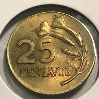 PERU 1969 25 CENTAVOS SCARCE NEAR UNCIRCULATED COIN