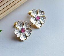 925 Sterling Silver Red Tourmaline Peony Flower Leaf Earrings Gold Butterfly