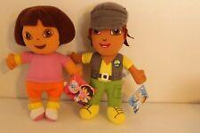 "Dora the Explorer DORA and DIEGO 8"" Plush Toy Stuffed Animal Doll 2002 2011"