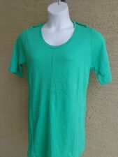 Being Casual Cotton Jersey Knit Top with Epaulettes & Scoop Neck L Green