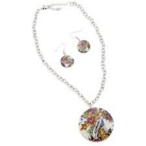 Ed Hardy Mother of Pearl Tribal Cross necklace and earring set  nip