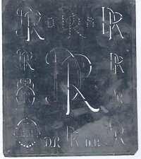 Große Monogramm Schablone DR Jugendstil   Weißblech 15,5 x 18 cm Weissstickerei