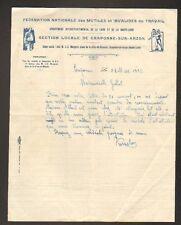 CRAPONNE (43) FEDERATION NATIONALE des INVALIDES & MUTILES du TRAVAIL en 1932