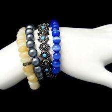 Vintage Jewelry Lot 4 Glass Acrylic Metal Beads Bracelets Blue Black White Gray