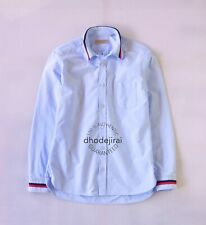 Authentic BNWOT BURBERRY Striped Cuff Cotton Shirt Long Sleeve Mens Medium Blue