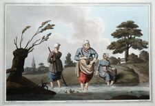 LEECH FINDERS, COSTUME OF YORKSHIRE Walker antique aquatint print 1814