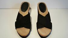 White Mountain Black Open Toe Slip On Wedge Clogs 8 1/2 M