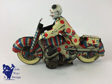 JOUET ANCIEN METTOY MOTO MECANIQUE WIND UP CLOWN CIRCUS TIN MOTORCYCLE C.1950