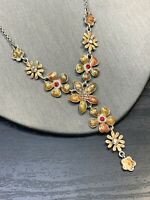 Vintage Delicate Crystal Flower Drop Pendant Enamel Rhinestone Necklace 16-18""
